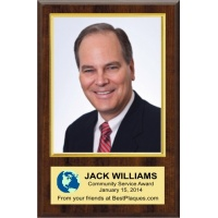 8X10 Deluxe Vertical Photo Plaques Walnut Style - 10.5X16 Plaque Fits an 8X10 Vertical Photo