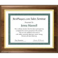 9X12 Certificate Plaques Slide In Genuine Walnut Style - 12X15 Plaques