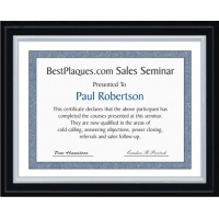 8.5x11 Certificate Plaques Silver Slide In Solid Black Matte Style - 10.5x13 Plaques
