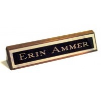 "10.5"" Genuine Walnut Desk Nameplate Genuine Walnut Quality Wood Base - Free Engraving"
