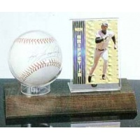 Baseball & Card Walnut Base Display