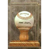 Single Baseball Oak Base Display