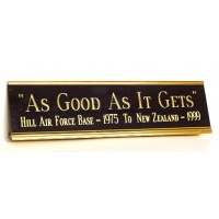 "8"" Metal Desk Nameplate Gold Color - Free Engraving"