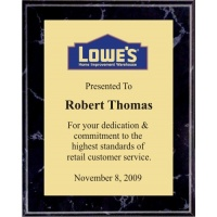6x8 Logo Plaques - Gold Plate - Black Marble Color Plaque. #BPXR6B