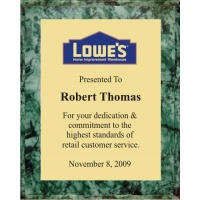 8x10 Logo Plaques - Gold Plate - Green Marble Color Plaque. #BPXR8