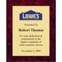 8x10 Logo Plaques - Gold Plate - Red Marble Color Plaque. #BPXR8
