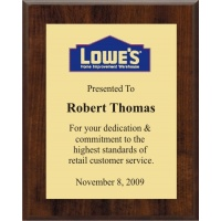 6x8 Logo Plaques - Gold Plate - Walnut Style Color Plaque. #BPXR6
