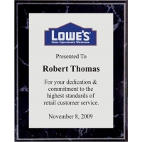 5x7 Logo Plaques - Silver Plate - Black Marble Color Plaque. #BPXR5BS