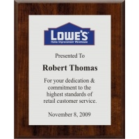 8x10 Logo Plaques - Silver Plate - Walnut Style Color Plaque. #BPXR8
