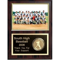5X7 Memory Mate Deluxe Plaques Walnut Style - 9X12 Plaque Fits a 5X7 Photo With Sports Emblem
