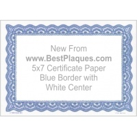 5 x 7 Certificate Paper - Blue with White Center 25 Sheets per Pack