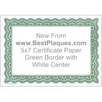 5 x 7 Certificate Paper - Green with White Center 25 Sheets per Pack