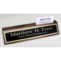 "10"" Genuine Walnut Desk Nameplate with Business Card Holder Genuine Walnut Quality - Wood Base Business Card Holder - Free Engraving"