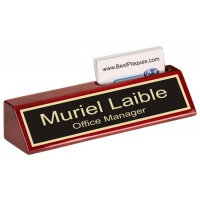 "8"" Rosewood Piano Finish Nameplate with Business Card Holder"