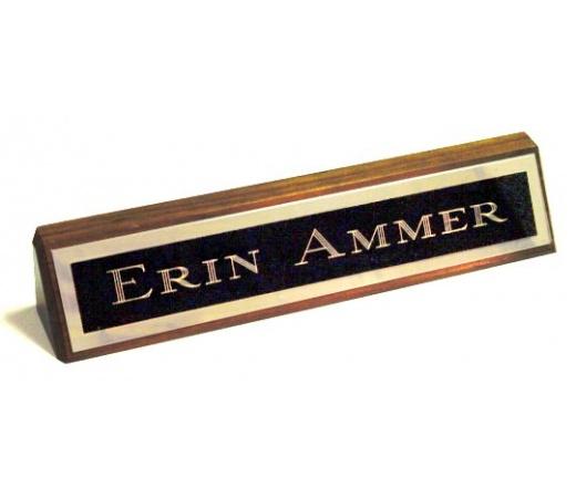 "10.5"" Genuine Walnut Desk Nameplate Genuine Walnut Quality Wood Base - Free Engraving"