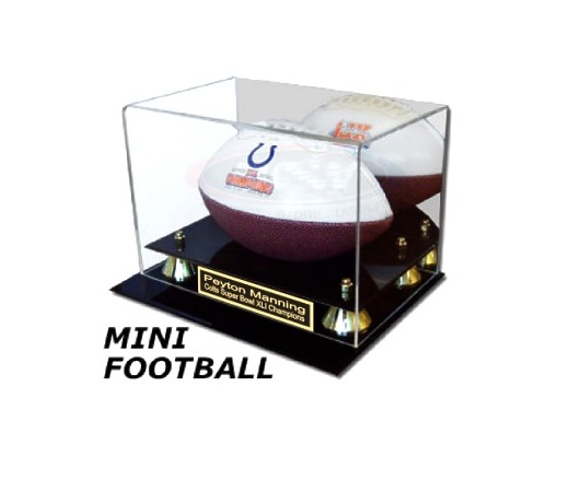Mini Football Display Case with Black Acrylic Base